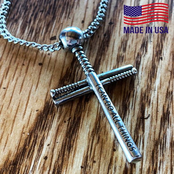 Baseball Bat And Ball Cross On Chain Necklace Pewter I Can Do All Things