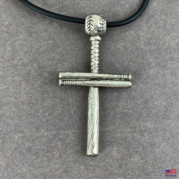 Baseball Bat And Ball Cross On Black Rubber Cord Necklace Antique Pewter