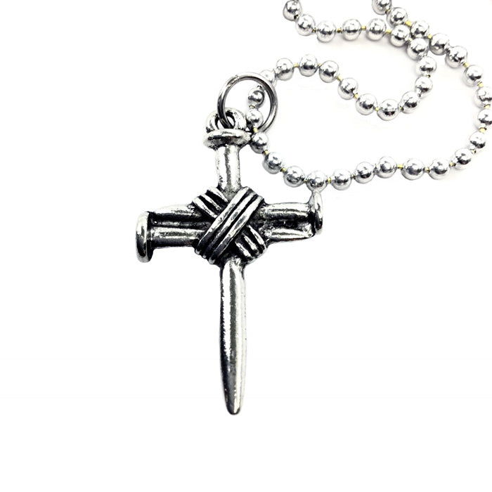 Wire Wrapped Nail Cross On Ballchain