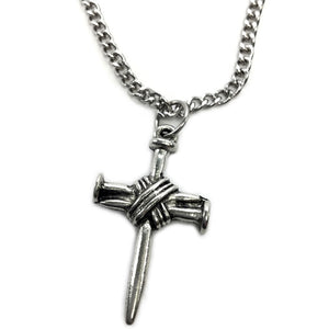 Wire Wrapped Nail Cross On Chain