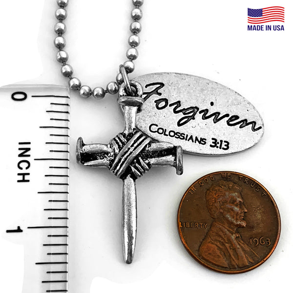 Nail Cross With Oval Forgiven Tag Necklace Antique Silver Finish On Ball Chain
