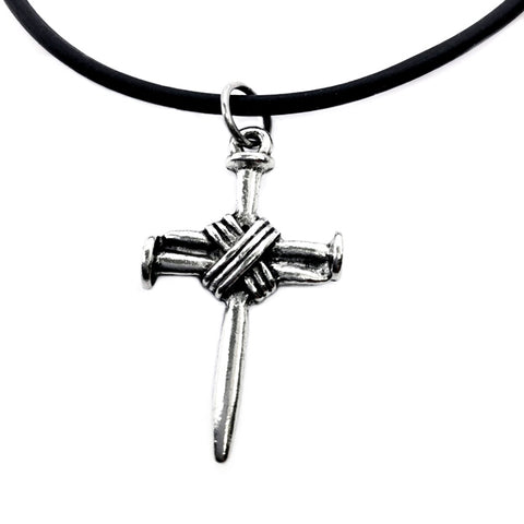 Wire Wrapped Nail Cross Silver