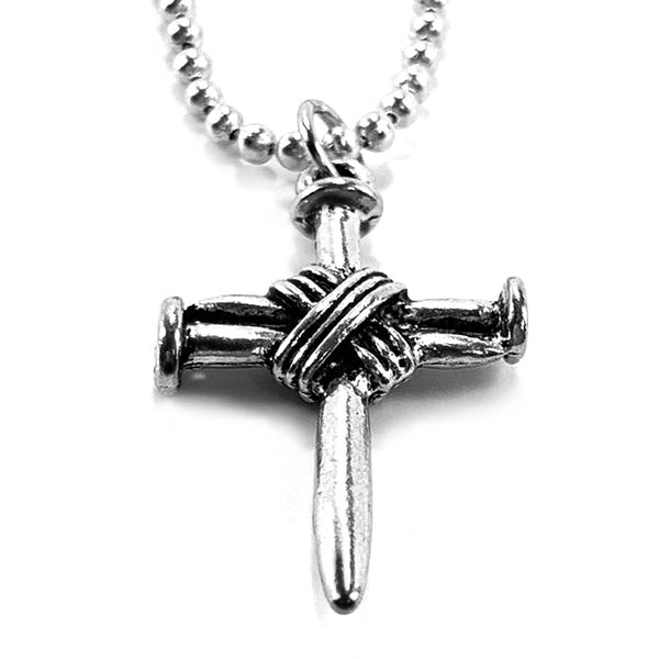 Wire Wrapped Nail Cross On Ball Chain