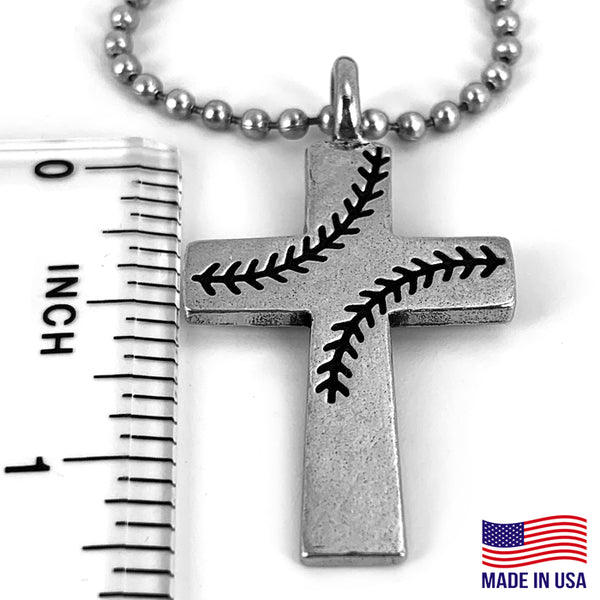 Baseball Stitch Cross Necklace on Ball Chain