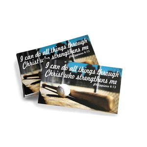 Baseball Softball Phil 413 I Can Do All Things Through Christ Inspirational Pocket Card