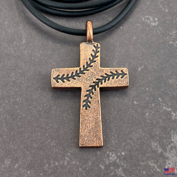 Baseball Stitch Cross Necklace Copper Finish