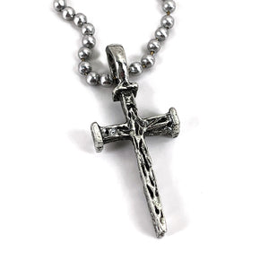 Nail Cross Antique Silver Ball Chain Necklace
