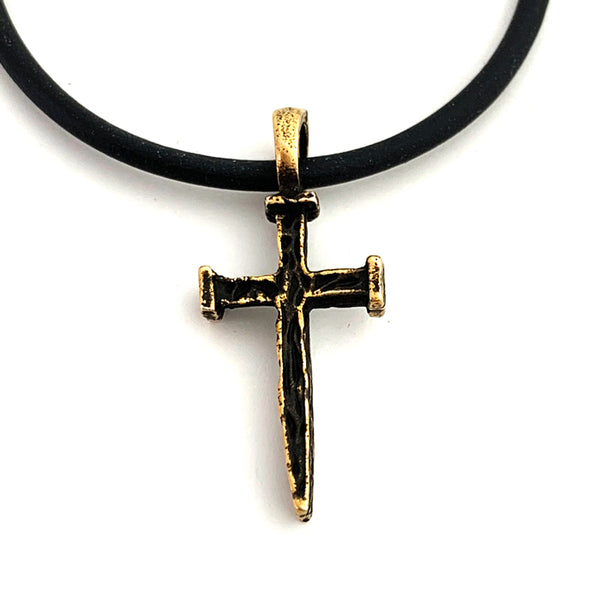Nail Cross Antique Brass Necklace On Black Rubber