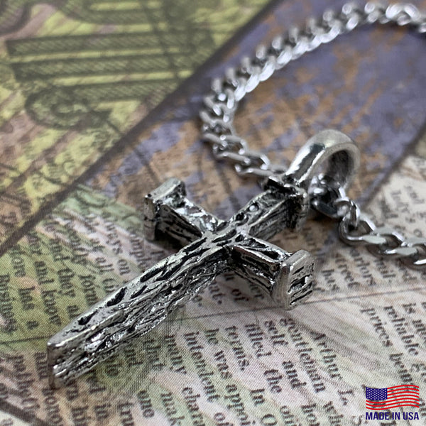 Nail Cross Antique Silver Stainless Steel Curb Chain Necklace