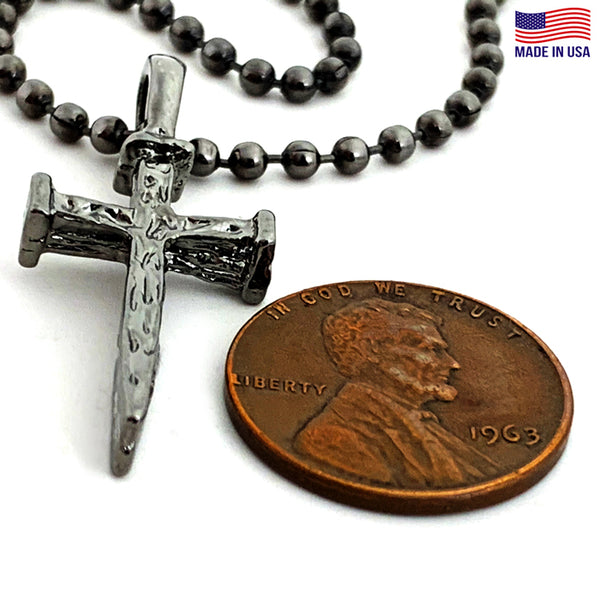 Nail Cross And Ball Chain With Gunmetal Finish Necklace