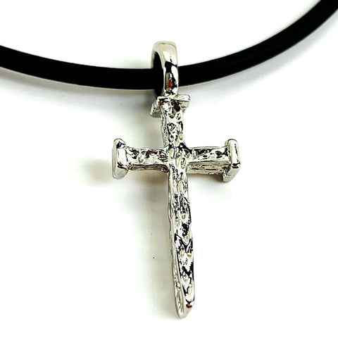 Rugged Nail Cross Necklace Rhodium Metal Finish