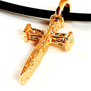 Nail Cross Rose Gold Metal Finish Necklace
