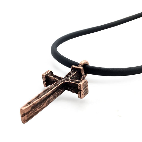 Copper Nail Cross Necklace