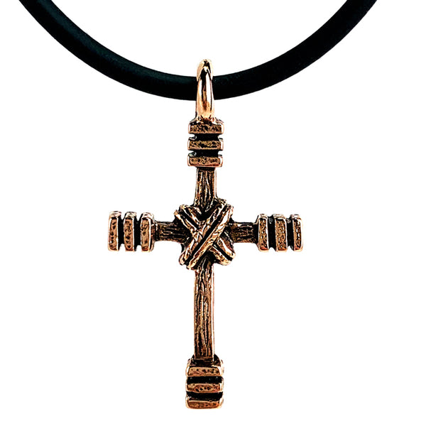 Rugged Cross Necklace Antique Rose Gold