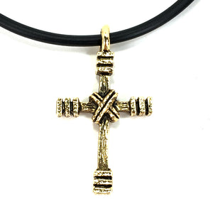 Rugged Cross Necklace Gold
