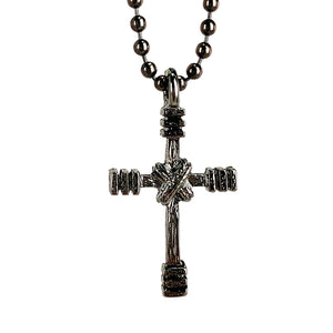 Rugged Cross Necklace Ball Chain Gunmetal Color Finish