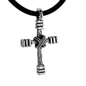 Rugged Cross Necklace Rhodium Bling Finish