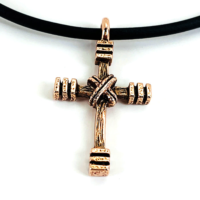 Rugged Cross Necklace Antique Rose Gold Metal Color Finish