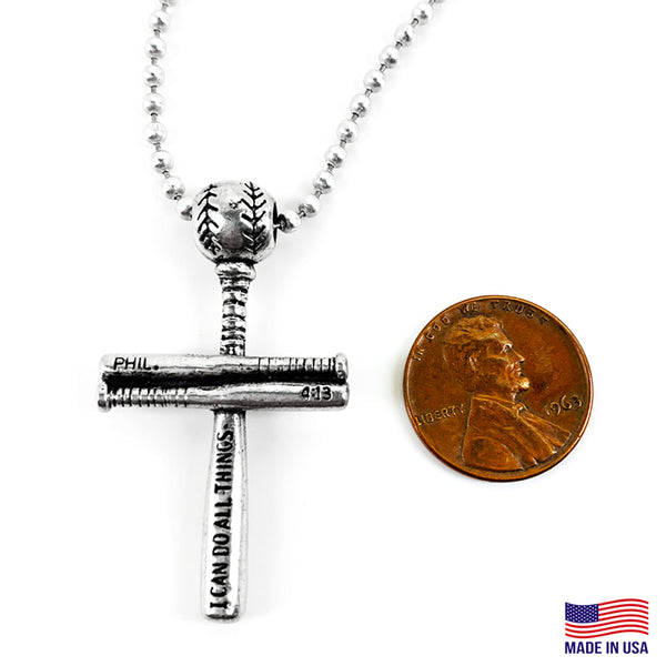 Baseball Bat And Ball Cross Small Necklace Antique Silver