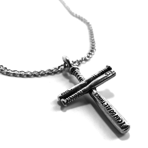 Baseball Bat Cross Small on 18 Inch Chain