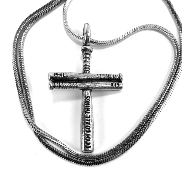 Baseball Bat Cross Small on Snake Chain