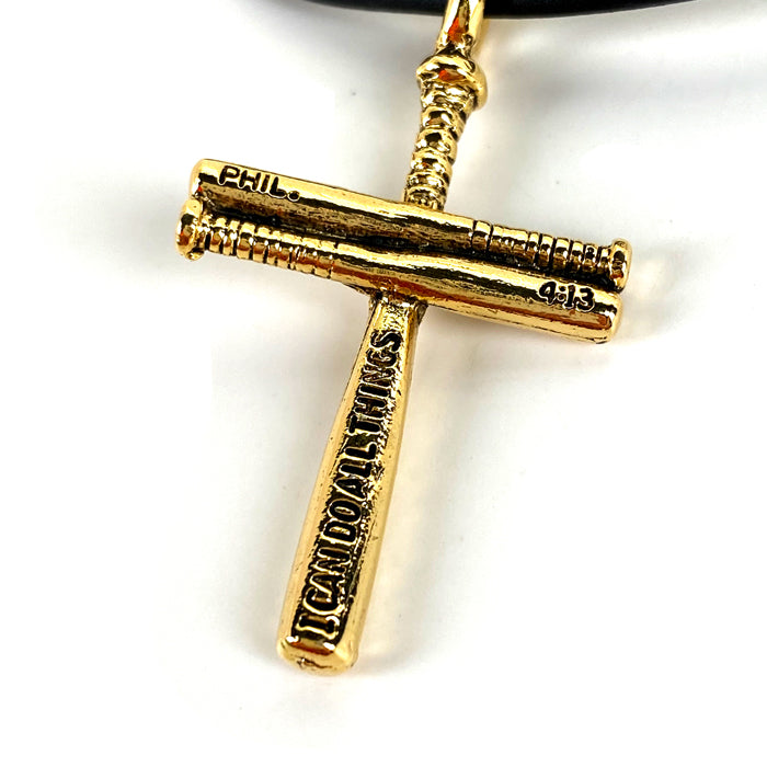 Baseball Cross Bat Necklace Small Gold