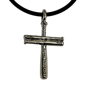 Baseball Cross Bat Necklace Small Gunmetal Color Finish