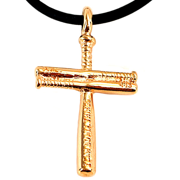 Softball Cross Bat Necklace Small Rose Gold