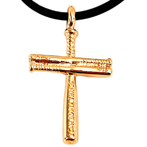 Baseball Cross Bat Necklace Small Rose Gold