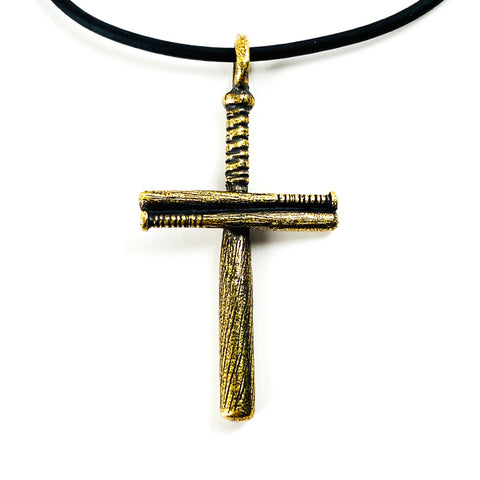 Baseball Bat Cross On Soft Black Rubber Necklace Antique Brass Softball