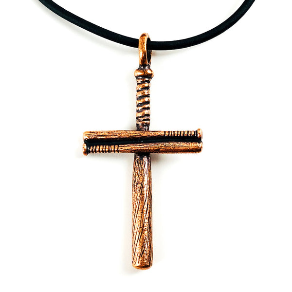 Baseball Bat Cross On Soft Black Rubber Necklace Antique Copper Softball