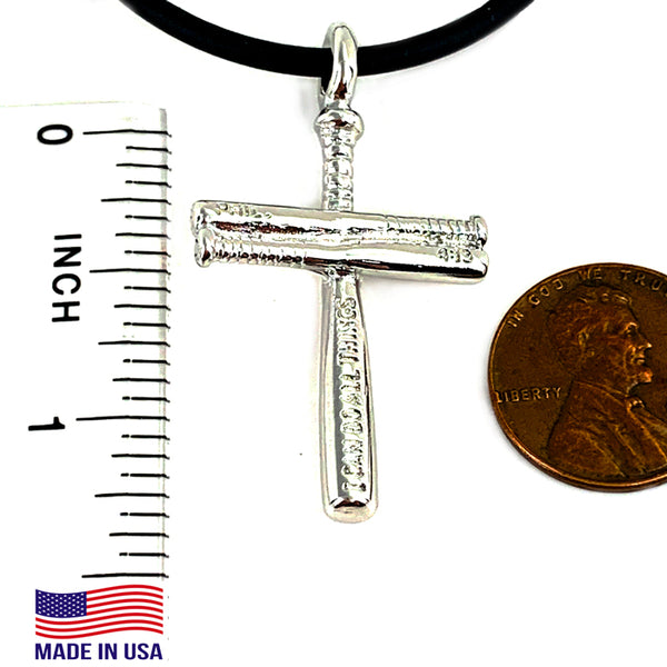 Baseball Cross Bat Necklace Small Rhodium Bling Finish