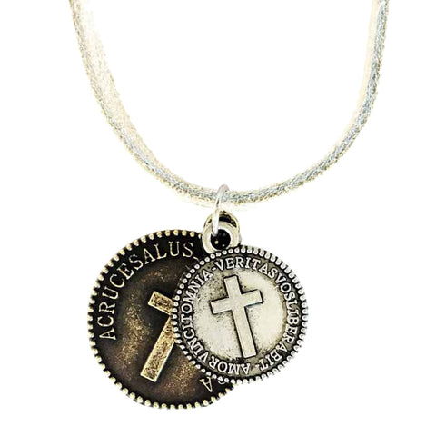 Cross Coins Brass Silver on Suede Necklace
