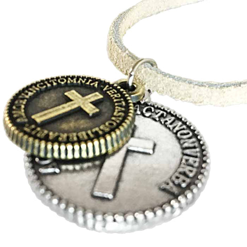 Cross Coins Silver Brass on Suede Necklace