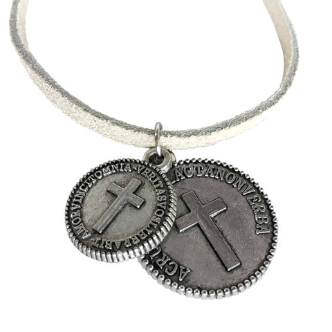 Cross Coins Silver on Suede Necklace