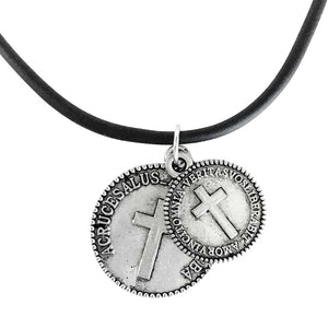 Cross Coins Silver on Rubber Necklace