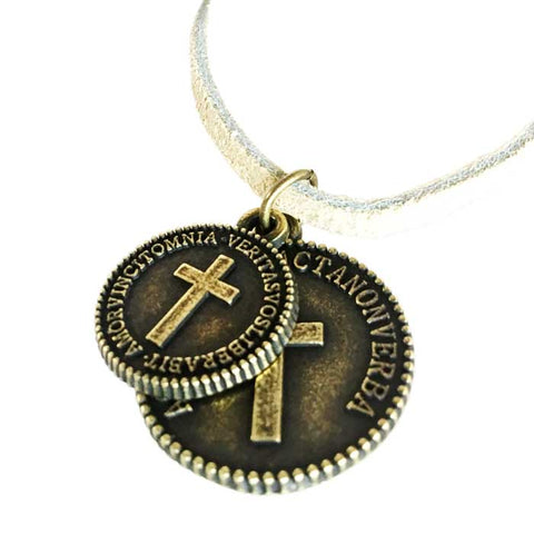 Cross Coins Brass on Suede Necklace