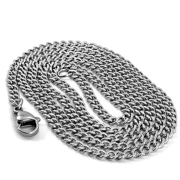 Nail Pendant Necklace Silver Curb Chain
