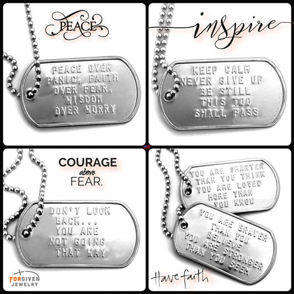 Keep Calm Never Give Up Be Still This Too Shall Pass Dog Tag Necklace