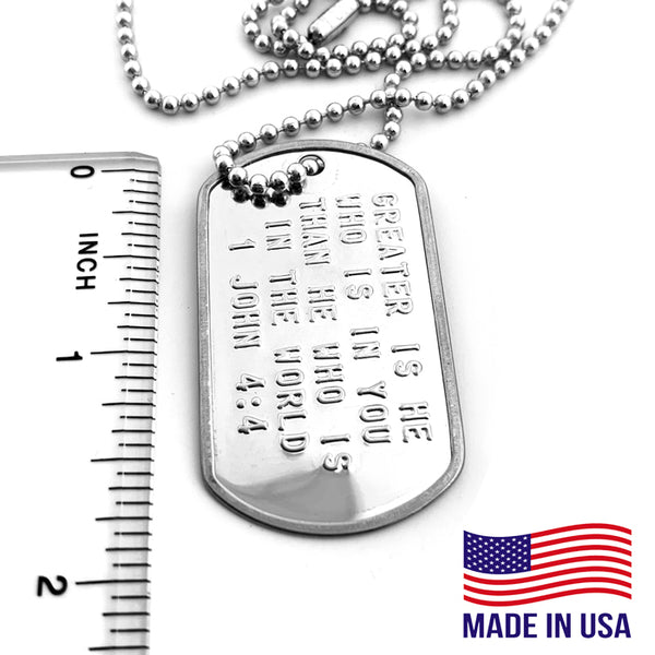 1 John 4:4 Greater Is He Who Is In You Than He Who Is In The World Dog Tag Necklace