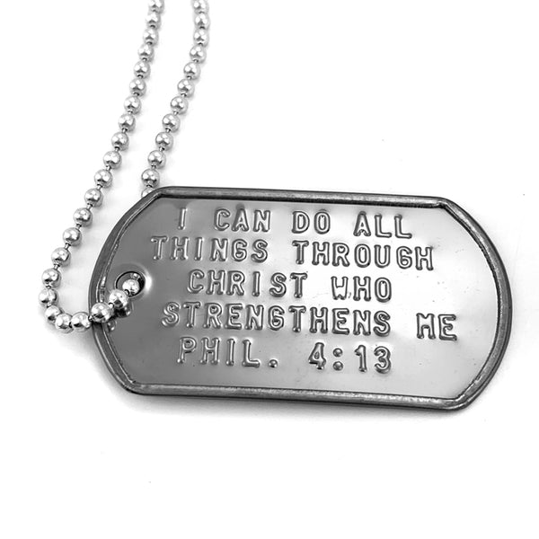 I Can Do All Things Through Christ Dog Tag Necklace