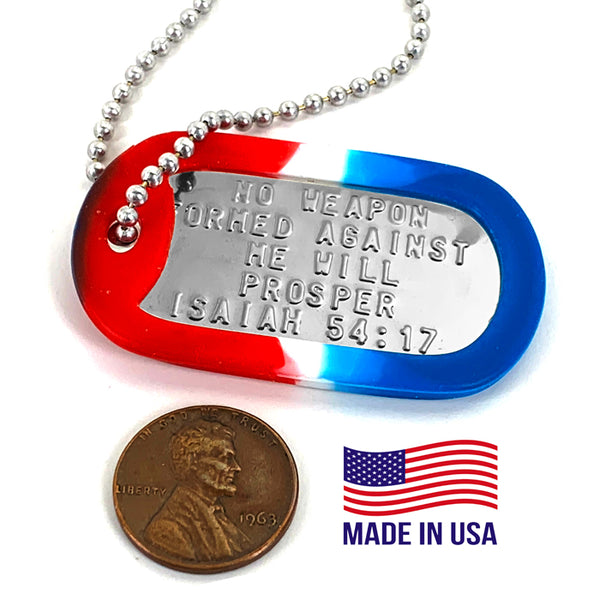 Nothing Formed Against Me Will Prosper Dog Tag Silencer Red White Blue Necklace