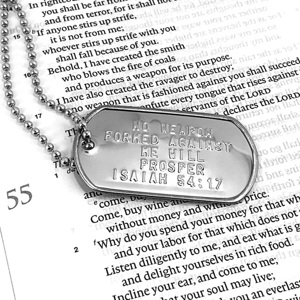 Nothing Formed Against Me Will Prosper Dog Tag Necklace