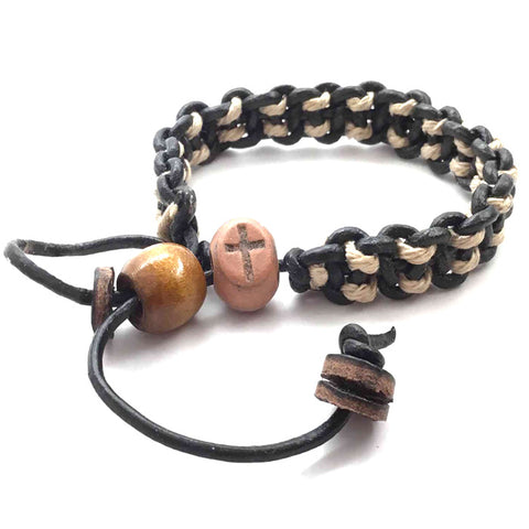 Adjustable Cross Bead Bracelet