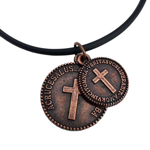 Cross Coins Copper on Rubber Necklace