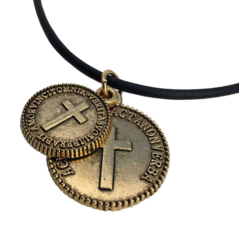 Cross Coins Gold on Rubber Necklace
