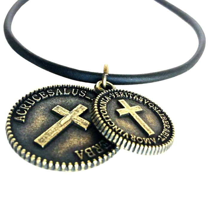 Cross Coins Brass on Rubber Necklace
