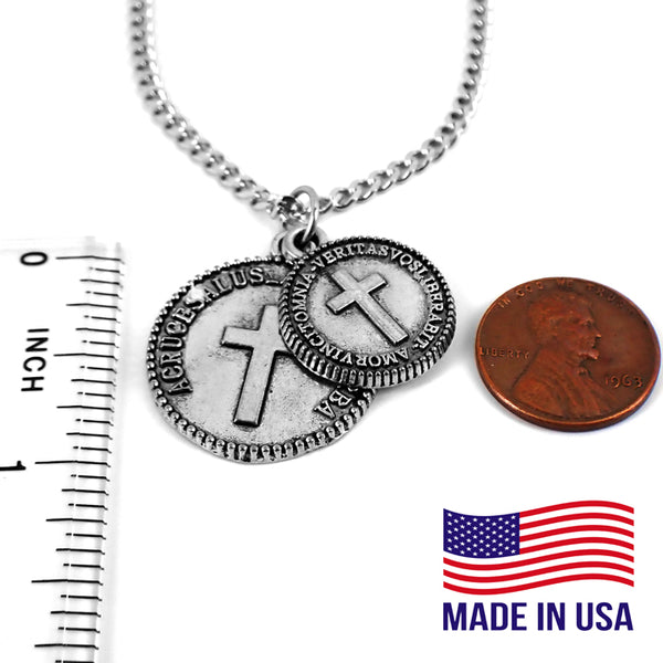 Cross Coins Pewter on 18 Inch Chain Necklace