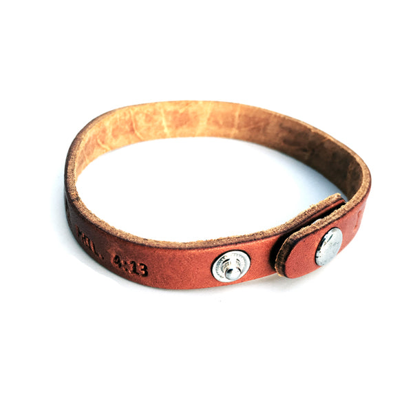 Philippians 4:13 Small Leather Bracelet