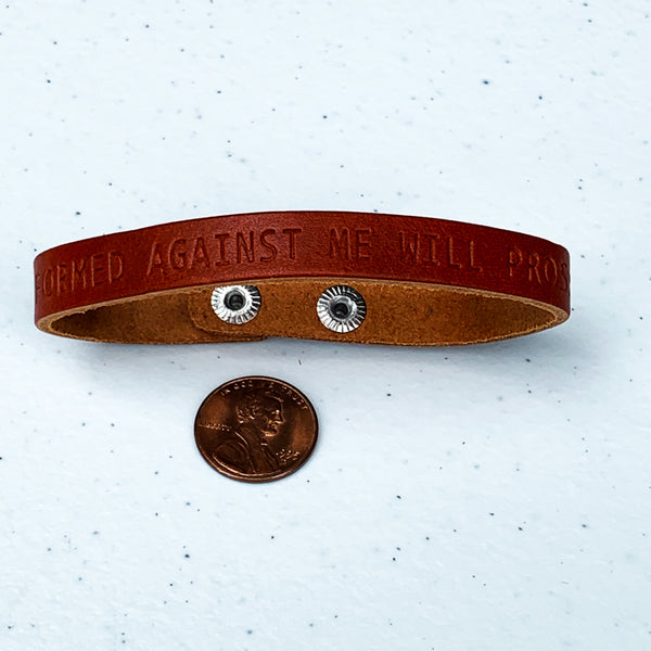 Isaiah 54:17 No Weapon Formed Against Me Large Leather Bracelet